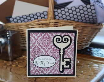 Antique Key to My Heart Card, Valentine Card, Anniversary Card, Love You Card, Wedding Card