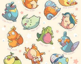 chubby starter pokemon poster