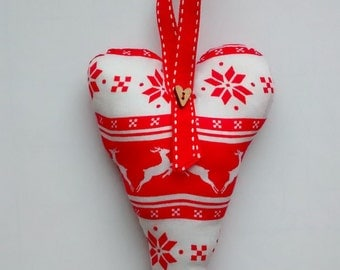 Scandinavian Style Fabric Hanging Heart