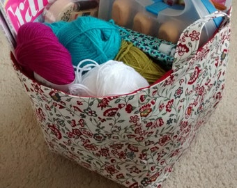 Flower Print and Red Fabric Storage Cube / Fabric Storage Basket