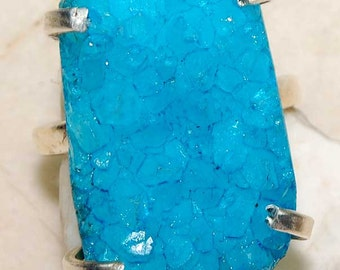 UNIQUE Aquamarine Druzy & Sterling Silver Ring!