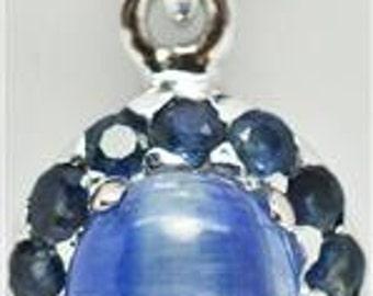 VINTAGE Blue Sapphire & Sterling Silver Pendant