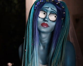 Wool dreads Halloween Corpse Bride double ended dreads DE dreadlocks set for full head custom