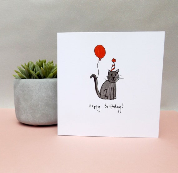 Black cat birthday card. Cute black cat birthday card. Red balloon and cat birthday illustrated card. Cat birthday card. Free UK shipping.