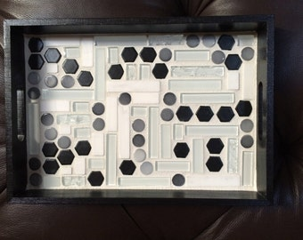Black, White and Gray Tile Serving Tray