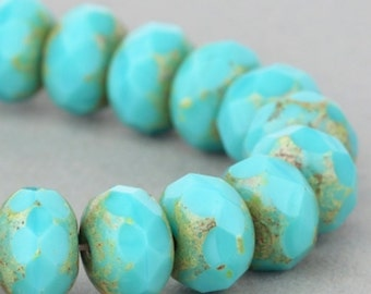 Czech Glass Beads - Czech Glass Rondelles - Turquoise Green Opaque with Picasso (Version 2) - 9x6mm - 25 Beads