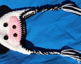 Cow baby hat, animal baby hat, crochet baby hat