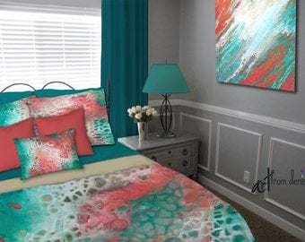 Teal gray aqua coral, Duvet Cover, Queen King Full Twin, Abstract art, Bedding set, Designer home decor, Master Bedroom, Contemporary Modern