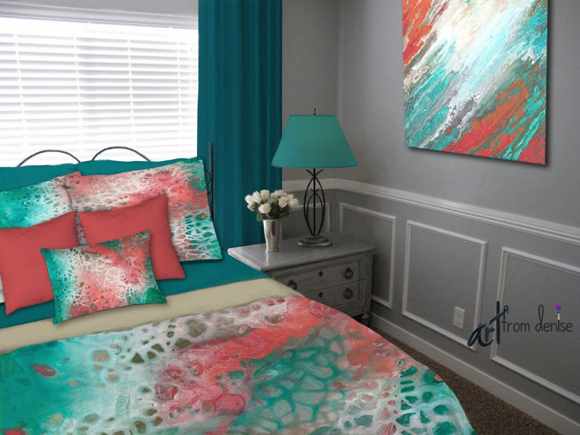 Teal gray aqua coral Duvet Cover Queen King Full Twin