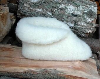 KragenHüttenschuhe, slippers, slippers, Sheepskin, cream white, Gr. 38-42