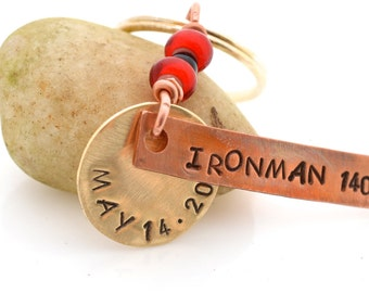 Ironman personalized keychain, 140.6, 70.3, Triathlon, Gift for Ironman, Gift for Iron mamma, Ironman completion, Ironman Athlete