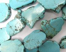 "20-26mm blue turquoise freeform slab nugget beads 15.5"" strand 34809"