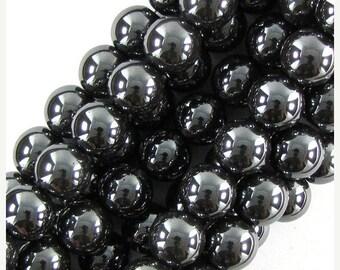 """10% SALE 14mm hematite round beads 16"""" strand 19645"""