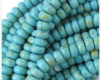 """10% SALE 6mm light blue turquoise rondelle beads 15.5"""" strand 35166"""