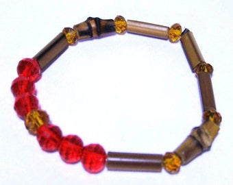 Bamboo and crystals bracelet
