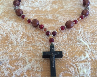 Cross necklace French crucifix vintage cross garnet beaded jewelry