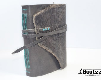 Leather hand bound journal Grey with turquoise with watercolor paper A5