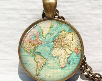 Antique World Map pendant, world map necklace, antique map jewelry, map resin pendant keychain key chain key fob