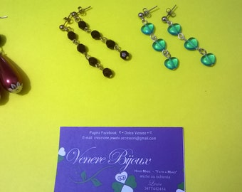 Set of earrings with crystals and glass pearls