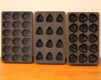 3 Vintage Belgian chocolate moulds / 1930s / Belgium / mold / bonbons / molds / bakelite