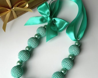 Mint green crochet necklace. Bridesmaid jewelry. Necklace on ribbon. Motherdays gift. Crochet jewelry