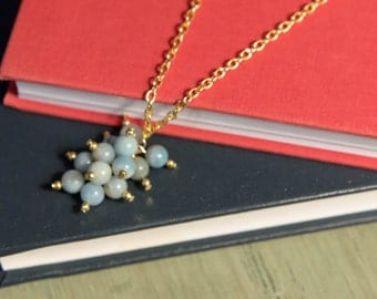 Blue Amazonite cluster necklace