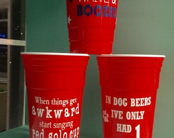 Insulated Red Solo Cup with a touch of humor