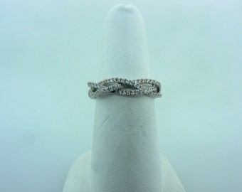 18K White Gold and Diamond Braided Band Ring by Renowned Designer Elma Gil