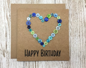 Birthday Card with Blue and Green buttons - Happy Birthday Card with Buttons - Kraft Birthday Card with Buttons - Button Heart Birtday Card