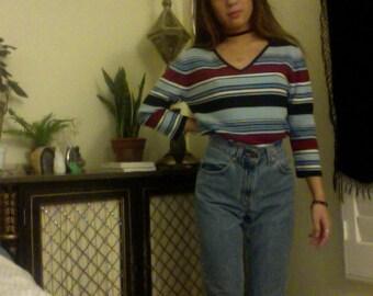 Vintage Striped Mid Sleeve Top 90s 80s Grunge V Neck