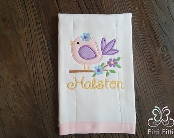 Baby Girl   Personalized Burp Cloth or Bib   Bird - Appliqued Bird Burp cloth or Bib