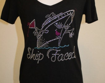 Cruise t-shirt, vacation t-shirt, custom t-shirt, rhinestone t-shirt, ship faced t-shirt