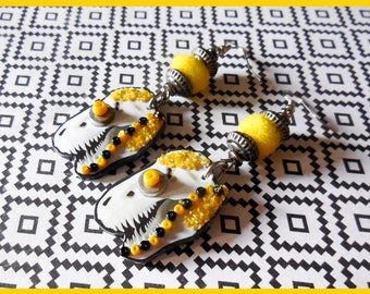 """Yellow tyrano"" earrings"