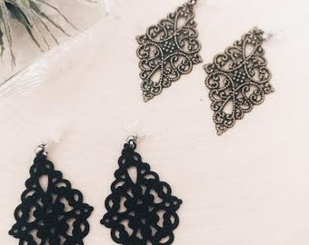 Lacy dangle earrings/invisible clear plastic earrings posts studs with silicone backs/ Ask to replace the steel earrings with invisible clip
