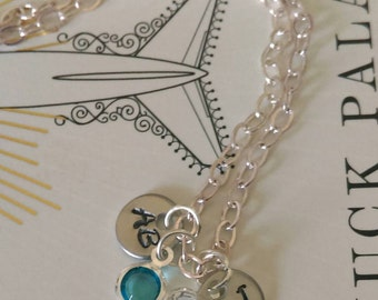 Handstamped Initials with Birthstone Necklace
