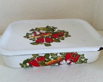 Vintage Enamelware Refrigerator Vegetable Container