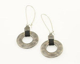 hand crafted silver plated long earrings with black strap