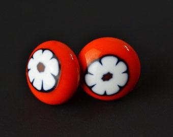 Orange Flower fused Glass Murrini Earrings - Murano, Italian, Stud, small posts, button earrings, posts, surgical steel - Karen Leonardo