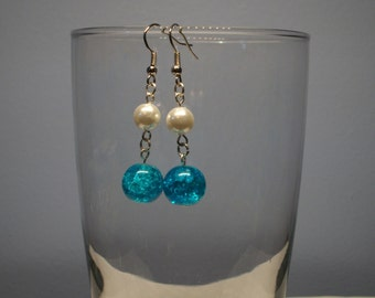 White and Teal Earrings