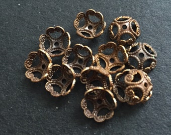 Vintaj brand vintage style antiqued brass bead cap findings
