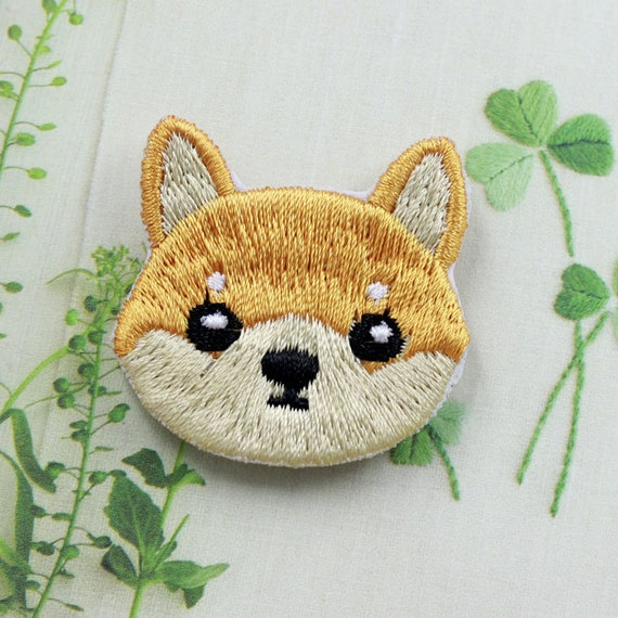 Cute dog shiba patch embroidered cartoon animal sew on iron