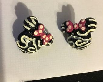 Minnie Mouse Zebra Stud Earrings