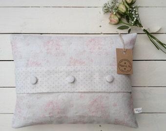 Handmade Millie Cushion, Girls Room, Peony & Sage Linen, Gustavian Grey Dots Trim, Millie Powder Pinks, Natural Linen, Vintage Inspired