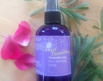 Sweet Dandelion Lavender Rose Face and Body Spray