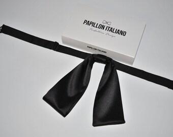 Papillon Italian woman in Black cotton sateen-Handmade 100% Made in Italy-Bowtie