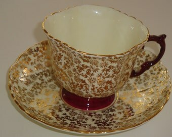 REDUCED  Aynsley Gold Chintz Floral with Ruby Cup and Saucer - Pattern C605