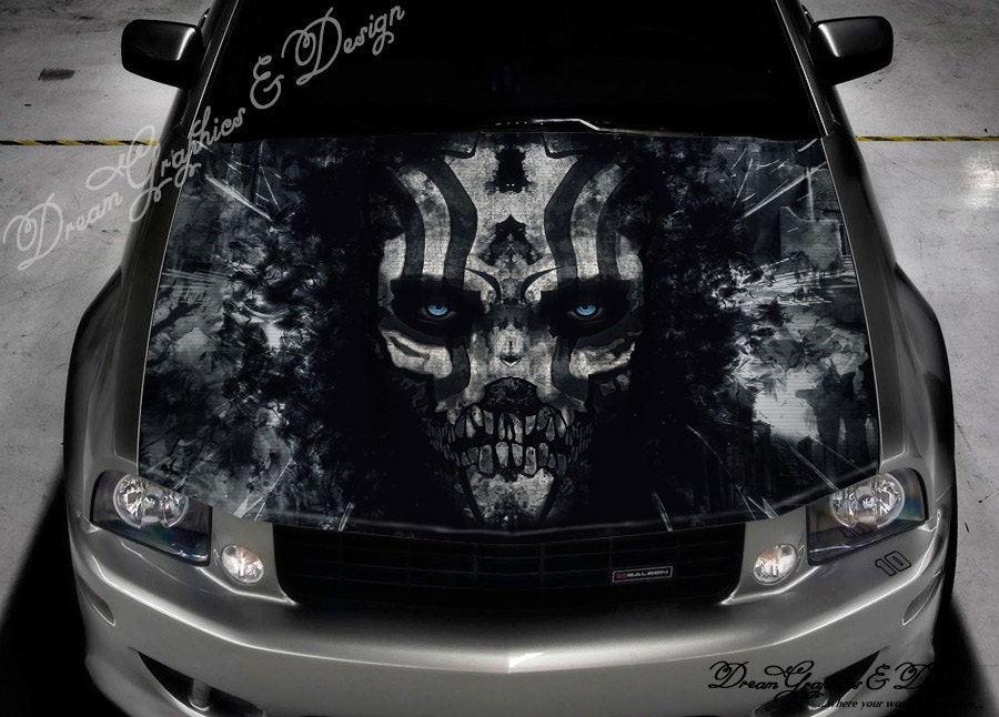 Evil Skull Full Color Graphics Adhesive Sticker Fit Any Car - Car vinyl decalsabstract full color graphics adhesive vinyl sticker fit any car