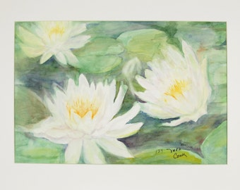 ORIGINAL painting, watercolor, water lilies, waterlilies, flowers, botanicals, nature, gift art, 18x24/mounted 22x28