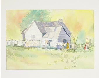 ORIGINAL painting, watercolor, farm house, rural life, gift art, 18x24/mounted 22x28