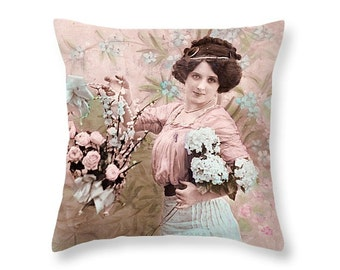 Retro pillow cover, Vintage girl, Pink pillow, Pastel pillow, Shabby chic Pillow, Retro girl Pillow, Vintage style Cushion, gift for her